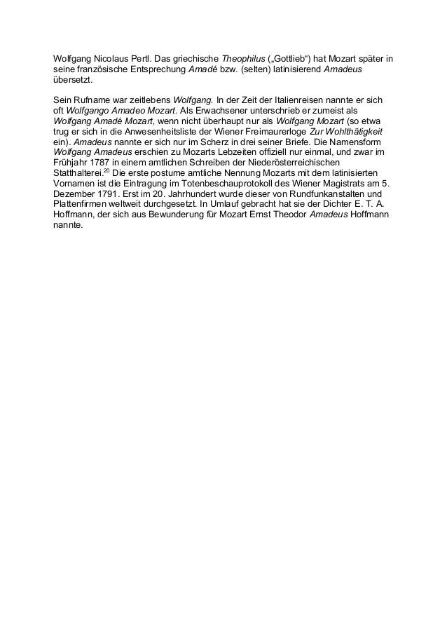 """Wolfgang Nicolaus Pertl. Das griechische Theophilus (""""Gottlieb"""") hat Mozart später inseine französische Entsprechung Amadé..."""