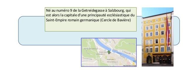 Né au numéro 9 de la Getreidegasse à Salzbourg, qui  est alors la capitale d'une principauté ecclésiastique du  Saint-Empi...