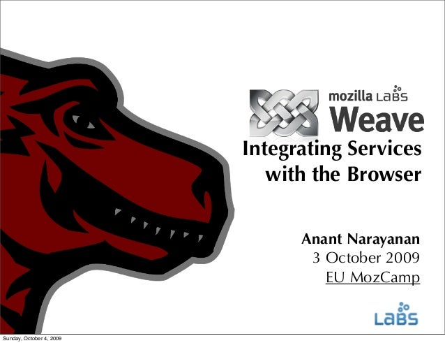 Integrating Services with the Browser Anant Narayanan 3 October 2009 EU MozCamp  Sunday, October 4, 2009