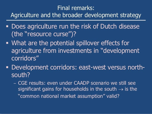 """Final remarks: Agriculture and the broader development strategy Does agriculture run the risk of Dutch disease  (the """"res..."""