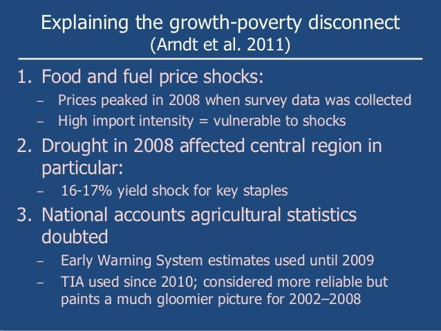 Explaining the growth-poverty disconnect                   (Arndt et al. 2011)1. Food and fuel price shocks:  − Prices pea...
