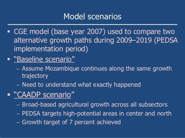 Model scenarios CGE model (base year 2007) used to compare two  alternative growth paths during 2009–2019 (PEDSA  impleme...