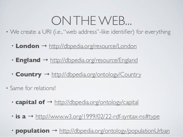 """ON THE WEB...•   We create a URI (i.e., """"web address""""-like identifier) for everything    •   London → http://dbpedia.org/re..."""