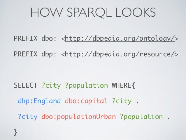 HOW SPARQL LOOKSPREFIX dbo: <http://dbpedia.org/ontology/>PREFIX dbp: <http://dbpedia.org/resource/>SELECT ?city ?populati...