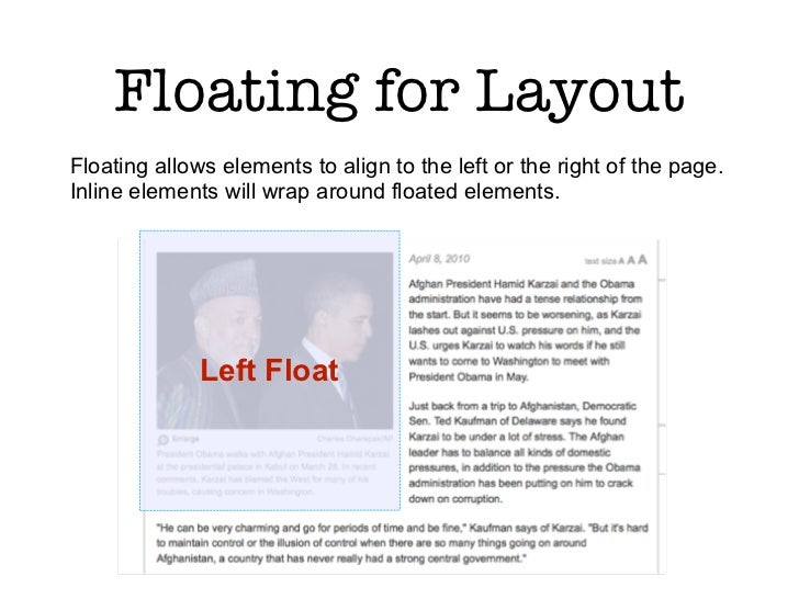 Floating for LayoutFloating allows elements to align to the left or the right of the page.Inline elements will wrap around...