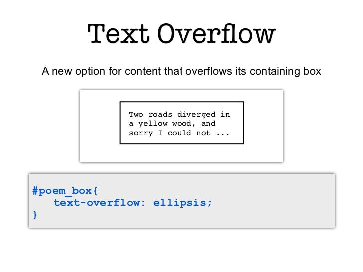 Text Overflow A new option for content that overflows its containing box                   Two roads diverged in           ...