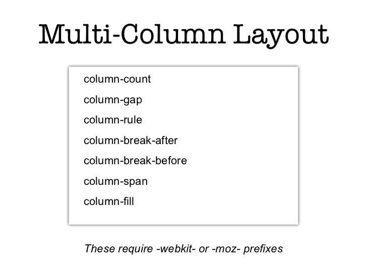 Multi-Column Layout  column-count  column-gap  column-rule  column-break-after  column-break-before  column-span  column-f...