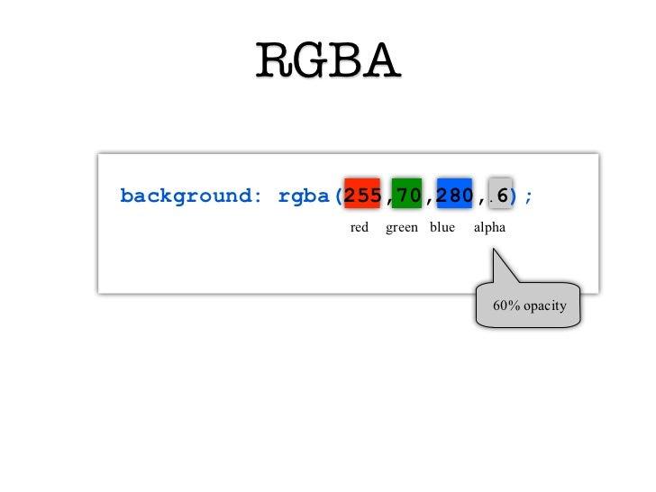 RGBAbackground: rgba(255,70,280,.6);                 red   green blue   alpha                                       60% op...