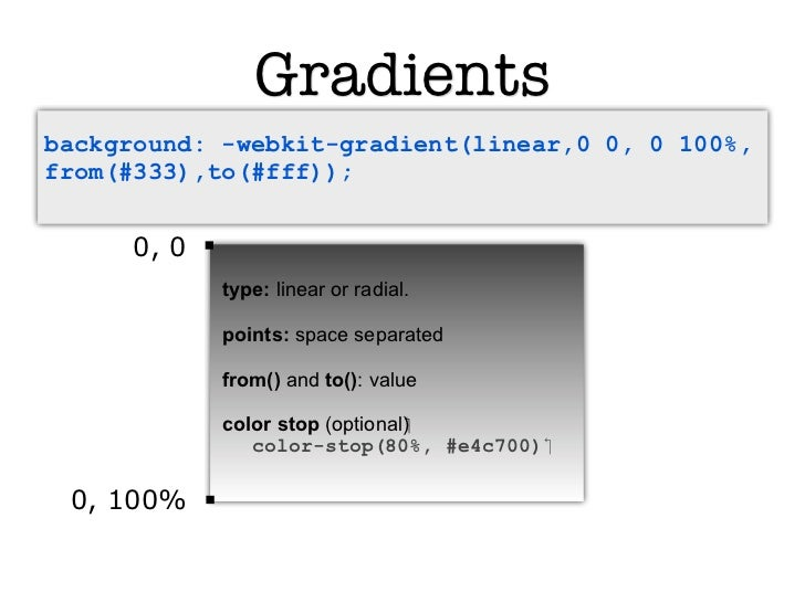 Gradientsbackground: -webkit-gradient(linear,0 0, 0 100%,from(#333),to(#fff));     0, 0            type: linear or radial....
