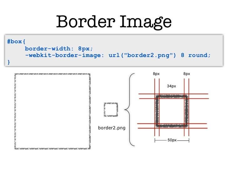 "Border Image#box{     border-width: 8px;     -webkit-border-image: url(""border2.png"") 8 round;}   <div id=""box"">          ..."