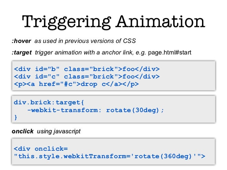 Triggering Animation:hover as used in previous versions of CSS:target trigger animation with a anchor link, e.g. page.html...
