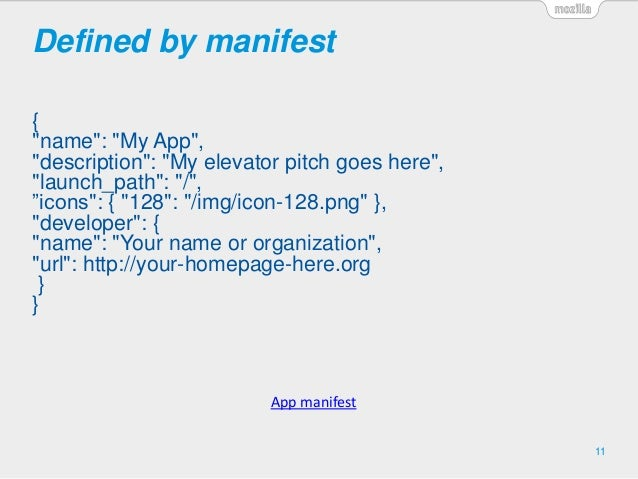 """Defined by manifest { """"name"""": """"My App"""", """"description"""": """"My elevator pitch goes here"""", """"launch_path"""": """"/"""", """"icons"""": { """"128""""..."""