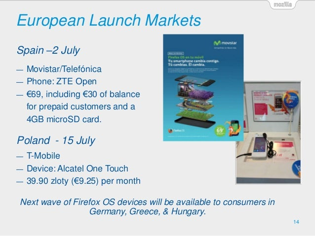 European Launch Markets 14 Spain –2 July Poland - 15 July Next wave of Firefox OS devices will be available to consumers i...