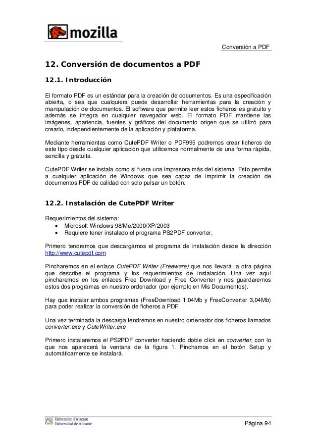Conversión a PDF 12. Conversión de documentos a PDF 12.1. Introducción El formato PDF es un estándar para la creación de d...