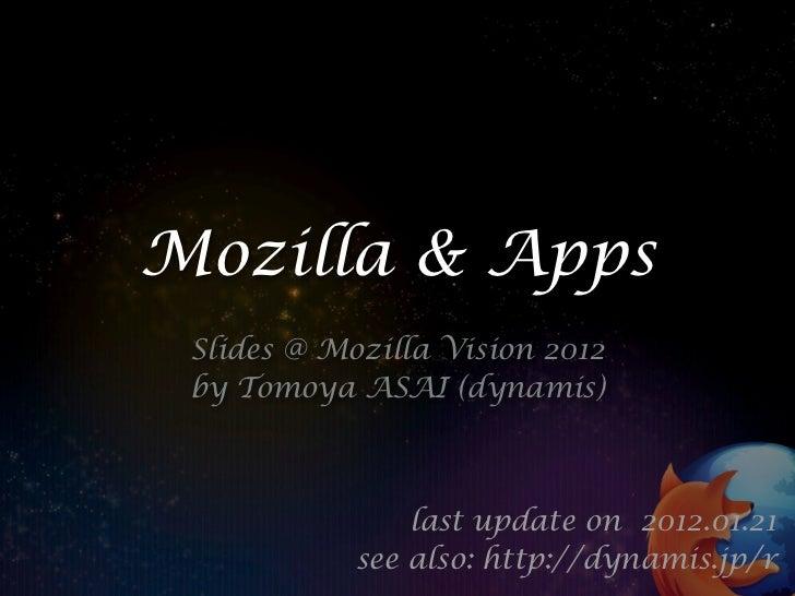 Mozilla & Apps Slides @ Mozilla Vision 2012 by Tomoya ASAI (dynamis)                last update on 2012.01.21            s...