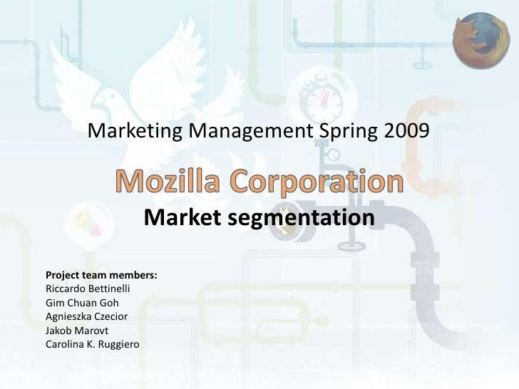 Marketing Management Spring 2009                     Market segmentation  Project team members: Riccardo Bettinelli Gim Ch...