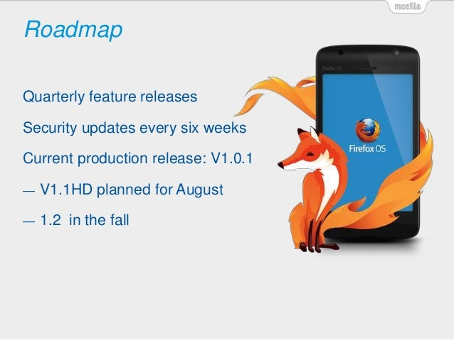 Roadmap Quarterly feature releases Security updates every six weeks Current production release: V1.0.1 — V1.1HD planned fo...