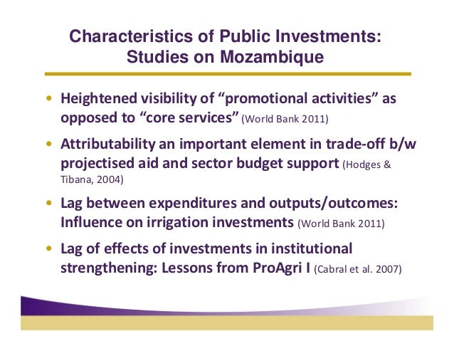 """Characteristics of Public Investments:          Studies on Mozambique• Heightenedvisibilityof""""promotionalactivities""""a..."""