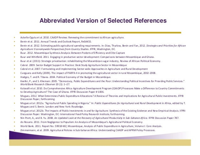 Abbreviated Version of Selected References•   Ackello‐Ogutuetal.2010.CAADPReview: RenewingthecommitmenttoAfrican...