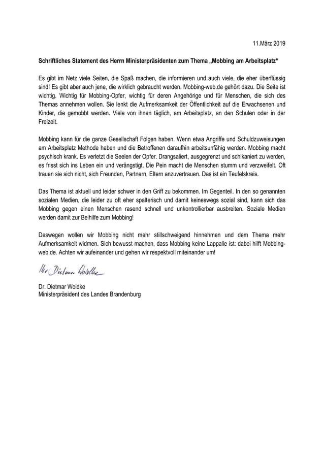 """11.März 2019 Schriftliches Statement des Herrn Ministerpräsidenten zum Thema """"Mobbing am Arbeitsplatz"""" Es gibt im Netz vie..."""