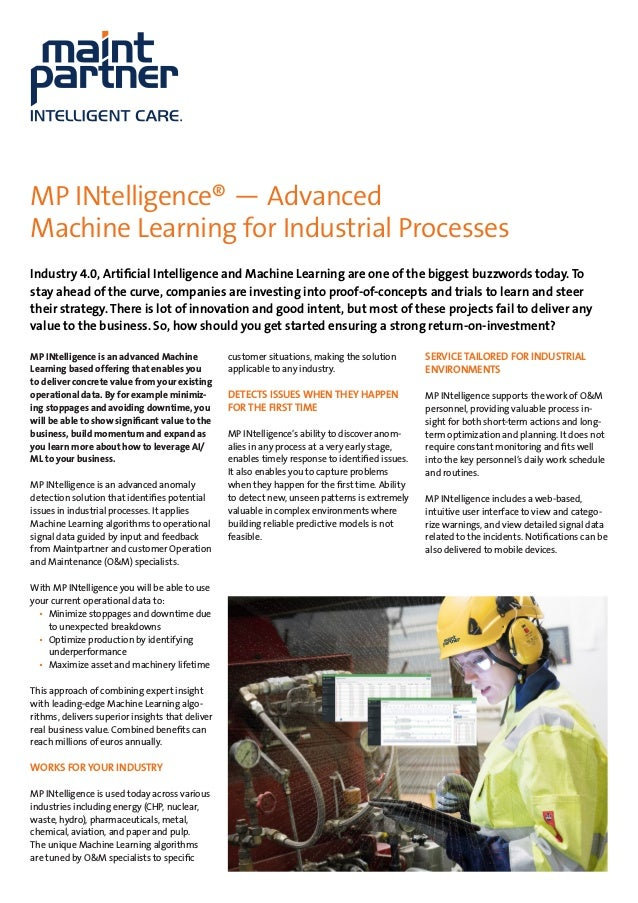 MP INtelligence® ­— Advanced Machine Learning for Industrial Processes Industry 4.0, Artificial Intelligence and Machine L...