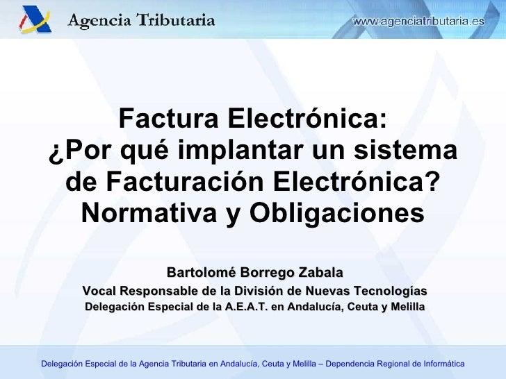 Bartolomé Borrego Zabala Vocal Responsable de la División de Nuevas Tecnologías Delegación Especial de la A.E.A.T. en Anda...