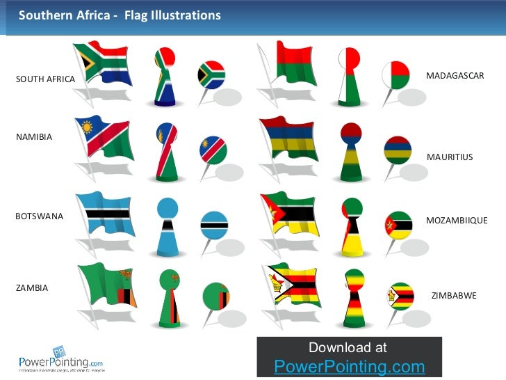 SOUTH AFRICA NAMIBIA BOTSWANA Southern Africa  Country Outline With Flag; 9.