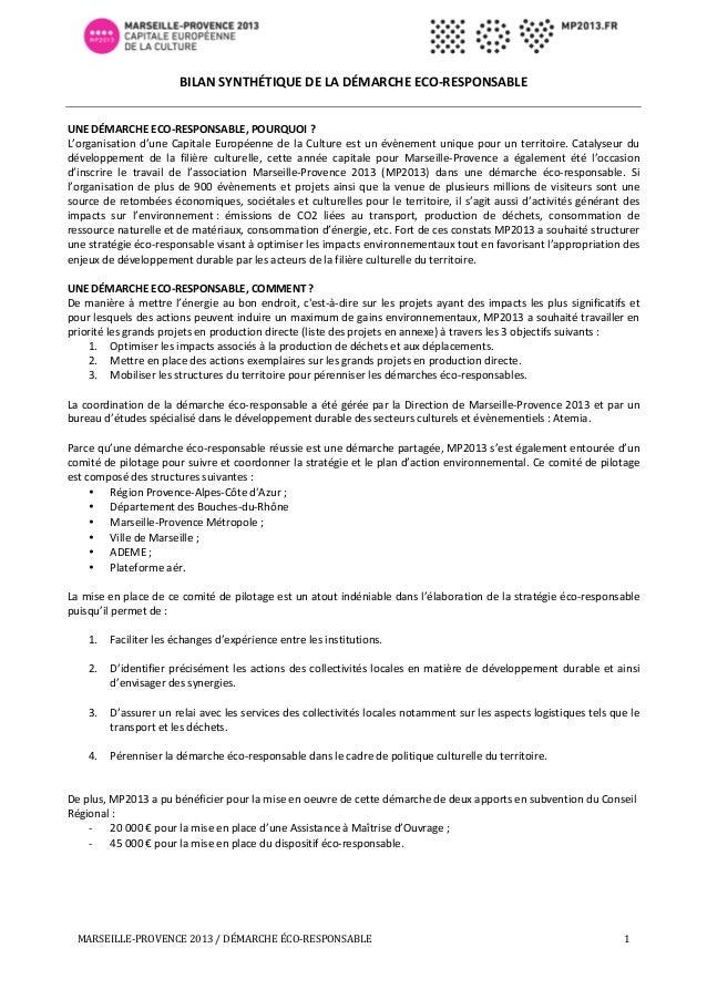 BILAN  SYNTHÉTIQUE  DE  LA  DÉMARCHE  ECO-‐RESPONSABLE         UNE  DÉMARCHE  ECO-‐RESPONSAB...