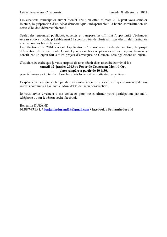 Lettre ouverte aux Couzonnais  samedi 8 décembre 2012  Les élections municipales auront bientôt lieu ; en effet, si mars 2...
