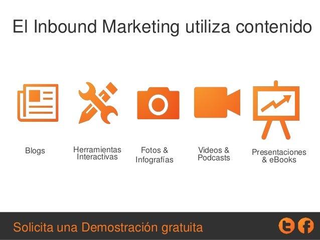 Blogs Herramientas Interactivas Fotos & Infografías Videos & Podcasts Presentaciones & eBooks El Inbound Marketing utiliza...