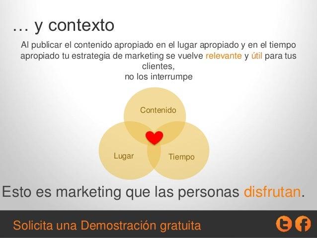 … y contexto Al publicar el contenido apropiado en el lugar apropiado y en el tiempo apropiado tu estrategia de marketing ...