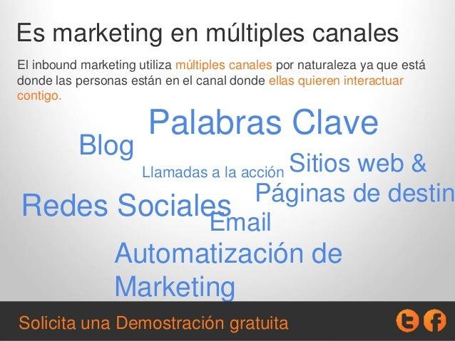 Es marketing en múltiples canales El inbound marketing utiliza múltiples canales por naturaleza ya que está donde las pers...