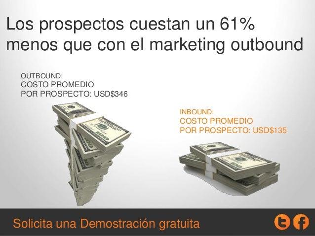 Los prospectos cuestan un 61% menos que con el marketing outbound OUTBOUND: COSTO PROMEDIO POR PROSPECTO: USD$346 INBOUND:...