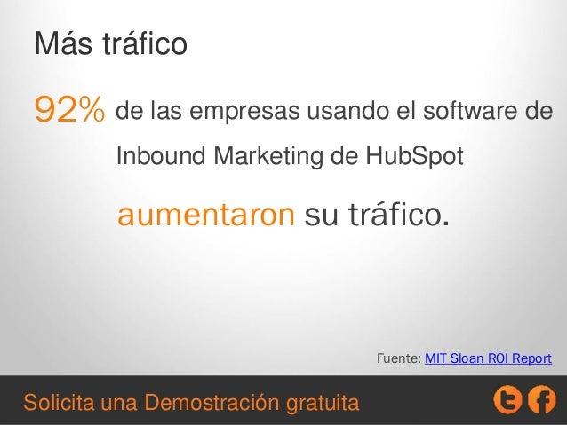 de las empresas usando el software de Inbound Marketing de HubSpot Más tráfico 92% aumentaron su tráfico. Fuente: MIT Sloa...