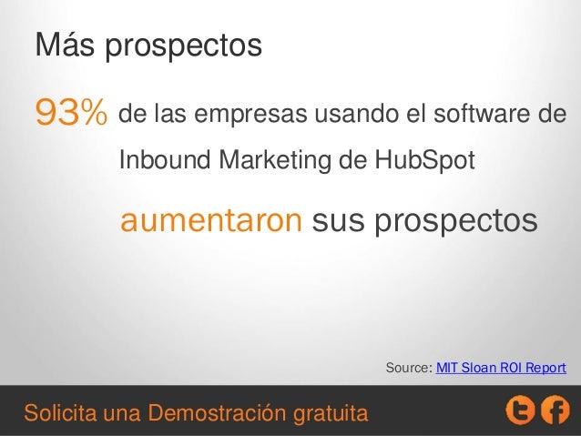 Más prospectos 93% Source: MIT Sloan ROI Report de las empresas usando el software de Inbound Marketing de HubSpot aumenta...