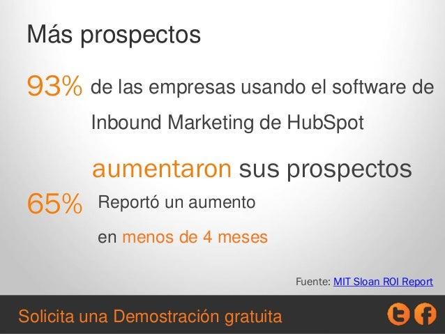 93% Fuente: MIT Sloan ROI Report de las empresas usando el software de Inbound Marketing de HubSpot aumentaron sus prospec...