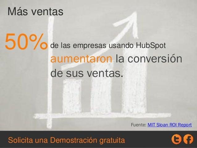 de las empresas usando HubSpot Más ventas 50% aumentaron la conversión de sus ventas. Fuente: MIT Sloan ROI Report Solicit...
