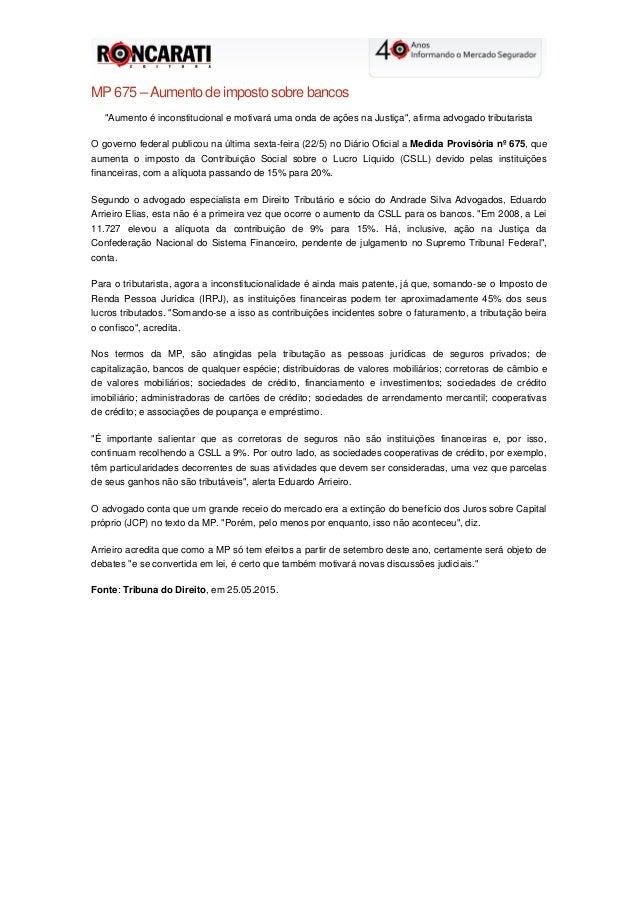 """MP 675 – Aumento de imposto sobre bancos """"Aumento é inconstitucional e motivará uma onda de ações na Justiça"""", afirma advo..."""