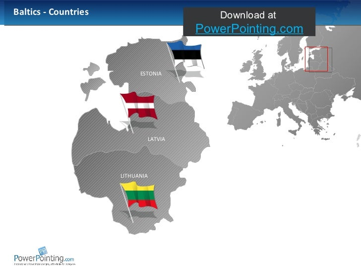 Powerpoint Baltic States Map - Estonia map download
