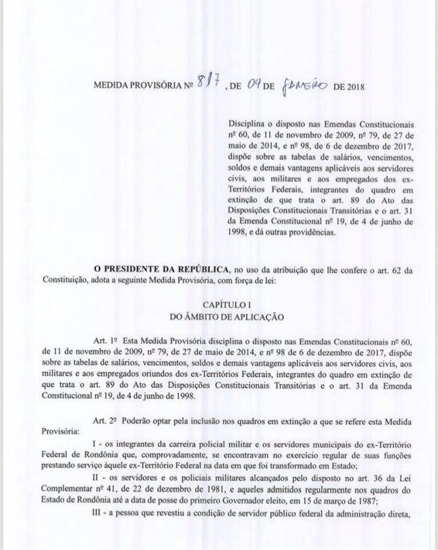 Medida  Provisória assinada por Temer estende transposição a empregados da Ceron, Caerd e até o Beron