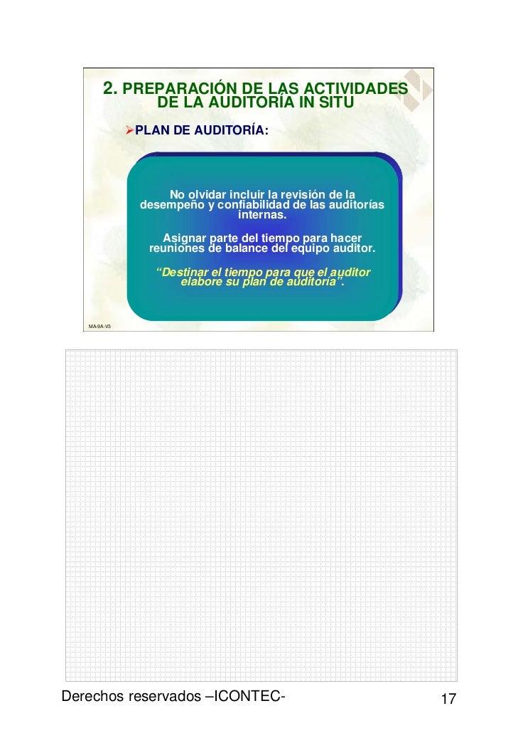 2. PREPARACIÓN DE LAS ACTIVIDADES                 DE LA AUDITORÍA IN SITU              PLAN DE AUDITORÍA:                 ...
