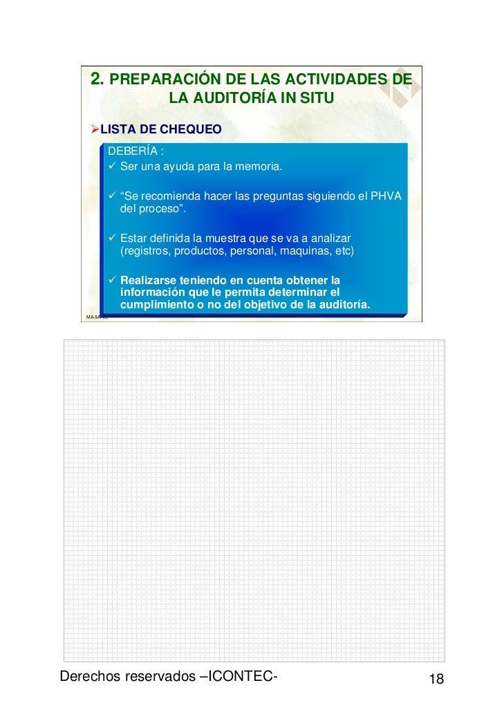 2. PREPARACIÓN DE LAS ACTIVIDADES DE                       LA AUDITORÍA IN SITU        LISTA DE CHEQUEO          DEBERÍA :...