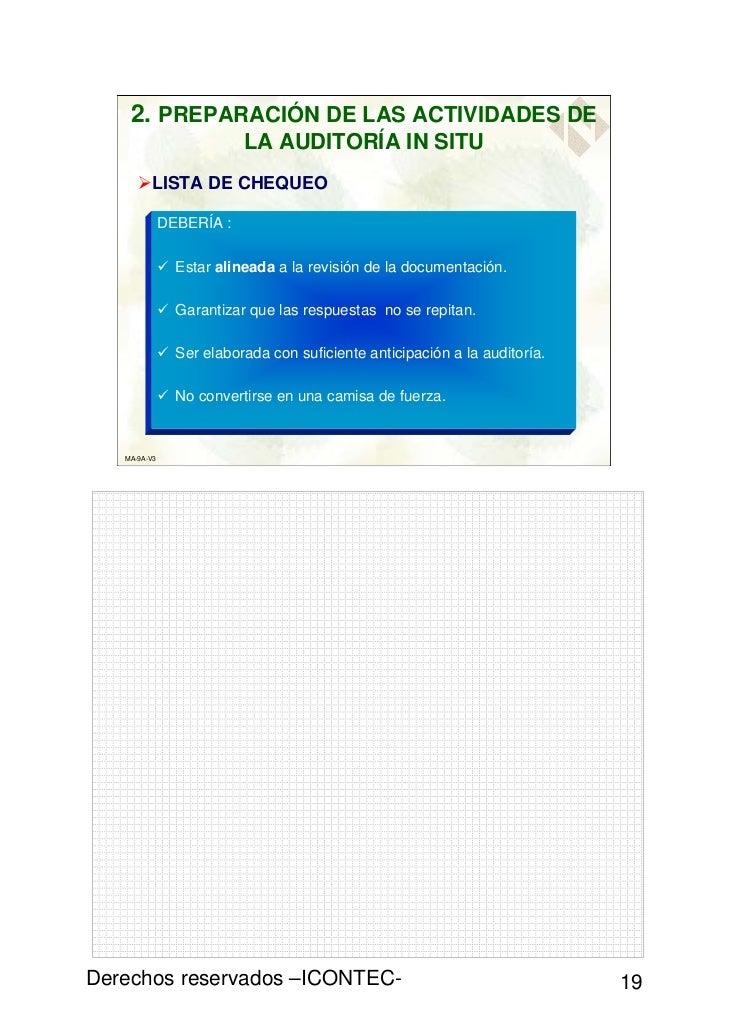 2. PREPARACIÓN DE LAS ACTIVIDADES DE                          LA AUDITORÍA IN SITU         LISTA DE CHEQUEO              D...