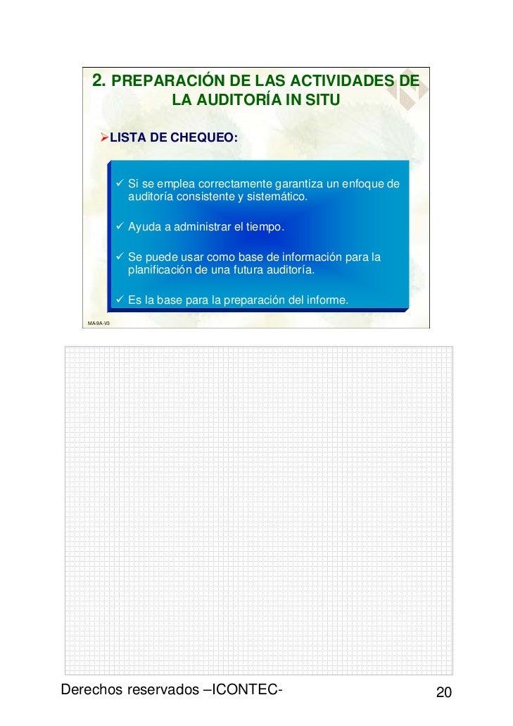 2. PREPARACIÓN DE LAS ACTIVIDADES DE                        LA AUDITORÍA IN SITU              LISTA DE CHEQUEO:           ...