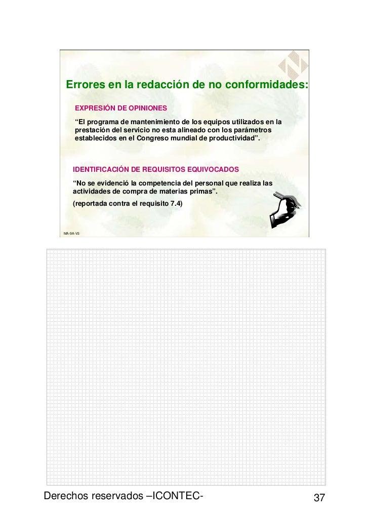 """Errores en la redacción de no conformidades:        EXPRESIÓN DE OPINIONES        """"El programa de mantenimiento de los equ..."""
