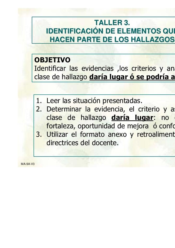 TALLER 3.              IDENTIFICACIÓN DE ELEMENTOS QUE               HACEN PARTE DE LOS HALLAZGOS       OBJETIVO       Ide...