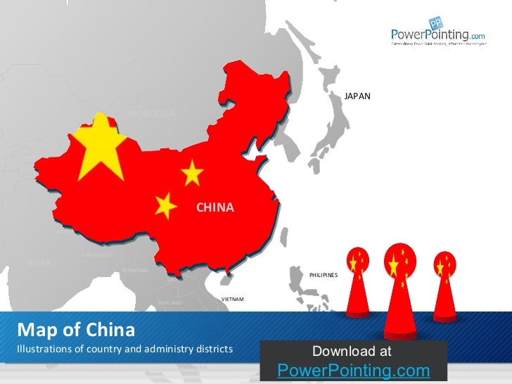 Powerpoint china map illustrations of country and administry districts map of china download at slideshop russia mongolia toneelgroepblik Images
