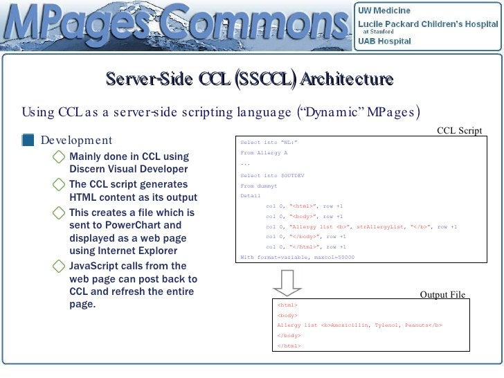 Server-Side CCL (SSCCL) Architecture <ul><li>Development </li></ul><ul><ul><li>Mainly done in CCL using Discern Visual Dev...