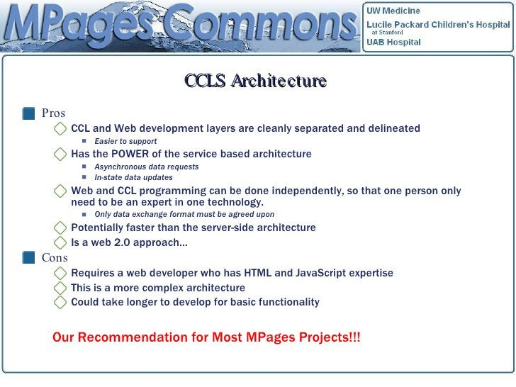 CCLS Architecture <ul><li>Pros </li></ul><ul><ul><li>CCL and Web development layers are cleanly separated and delineated <...