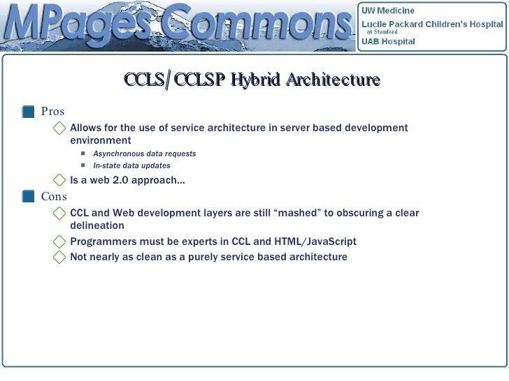 CCLS/CCLSP Hybrid Architecture <ul><li>Pros </li></ul><ul><ul><li>Allows for the use of service architecture in server bas...